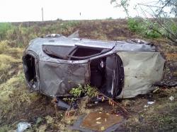 Запорожский водитель опрокинул свой автомобиль на ровном месте
