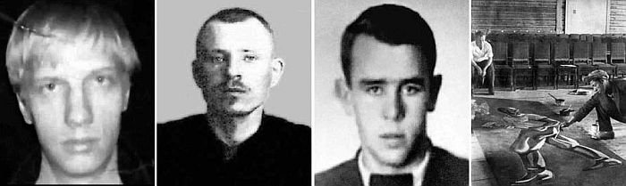 Члены банды (слева на право): Иван Митин, Александр Самарин, Вячеслав Лукин, Степан Дудник